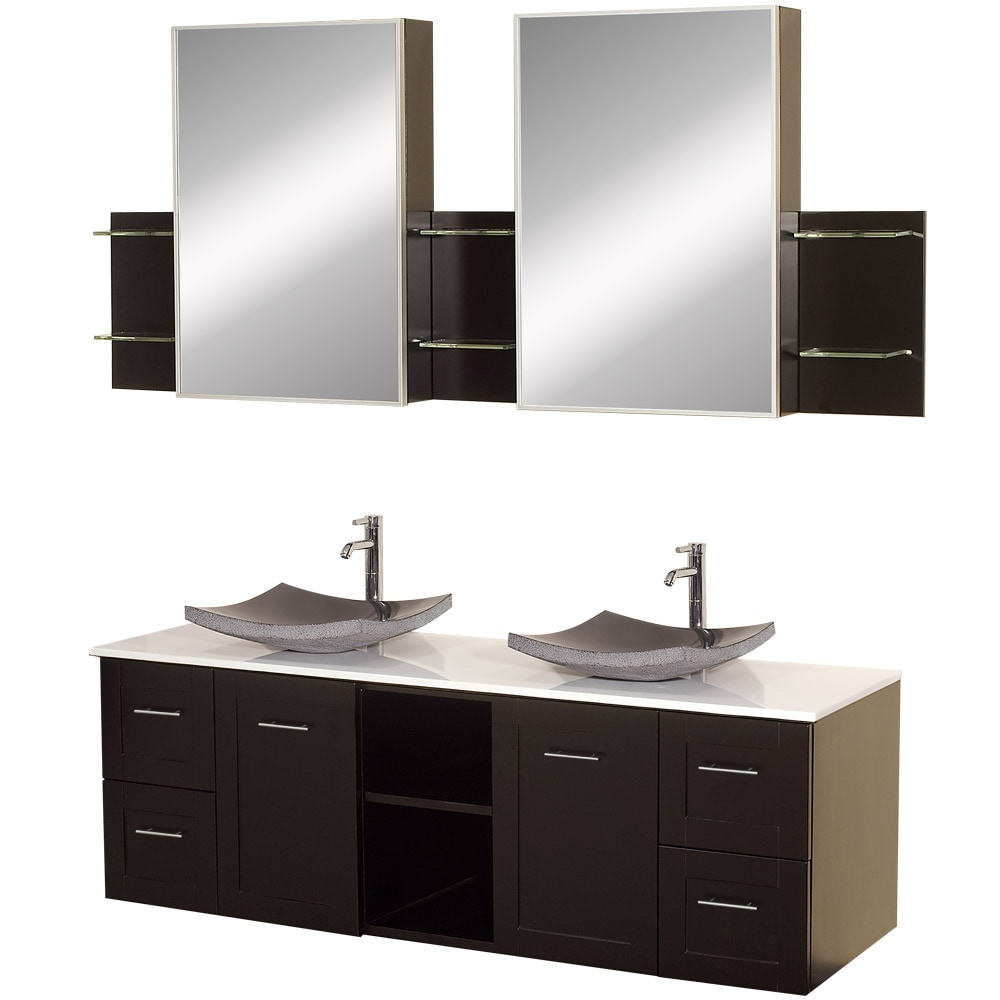 Wyndham Collection Avara Espresso 60-inch Double Bathroom Vanity Set