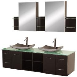 Wyndham Collection Avara 72-inch Espresso Double Bathroom Vanity Set