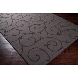 Hand-crafted Grey Solid Swirl Bristol Wool Rug (9' x 12')