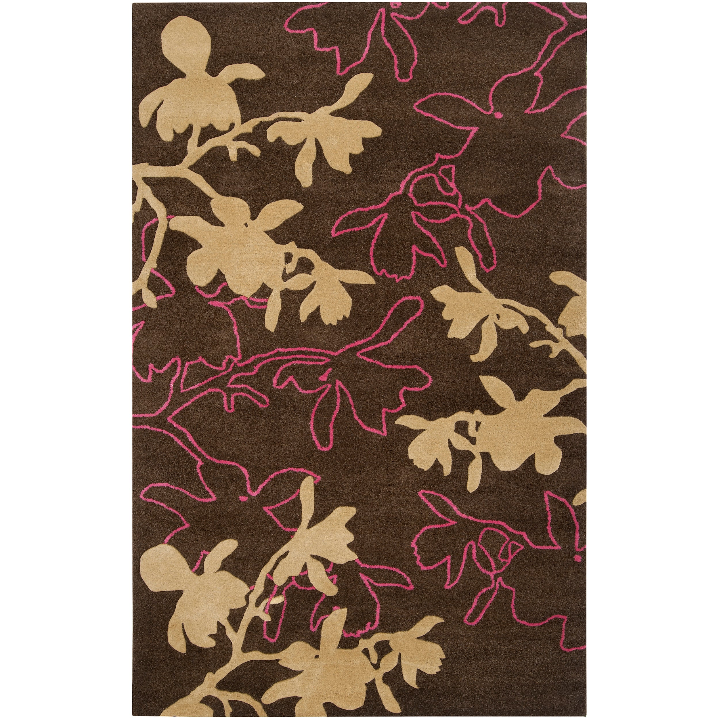 Jef Designs Hand-tufted Dark Brown/Pink Contemporary Gaffney Wool Floral Rug (5' x 8')