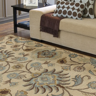 Hand-tufted Amanda Ivory Floral Wool Rug (5' x 7'9)