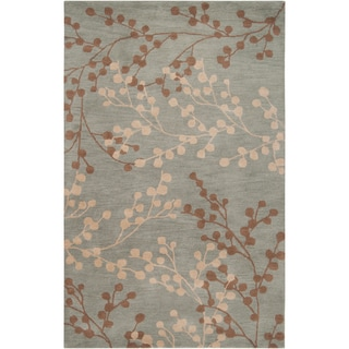 Hand-tufted Blossom Blue Floral  Wool Rug (5' x 7'9)