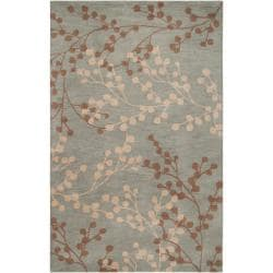 Hand-tufted Blossom Blue Floral Wool Rug (8'x10')