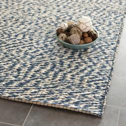 Handwoven Doubleweave Sea Grass Blue Rug (4' x 6')