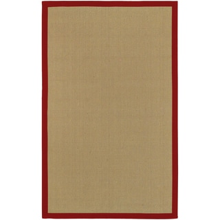 Woven Town Sisal with Cotton Red Border Rug (6' x 9')