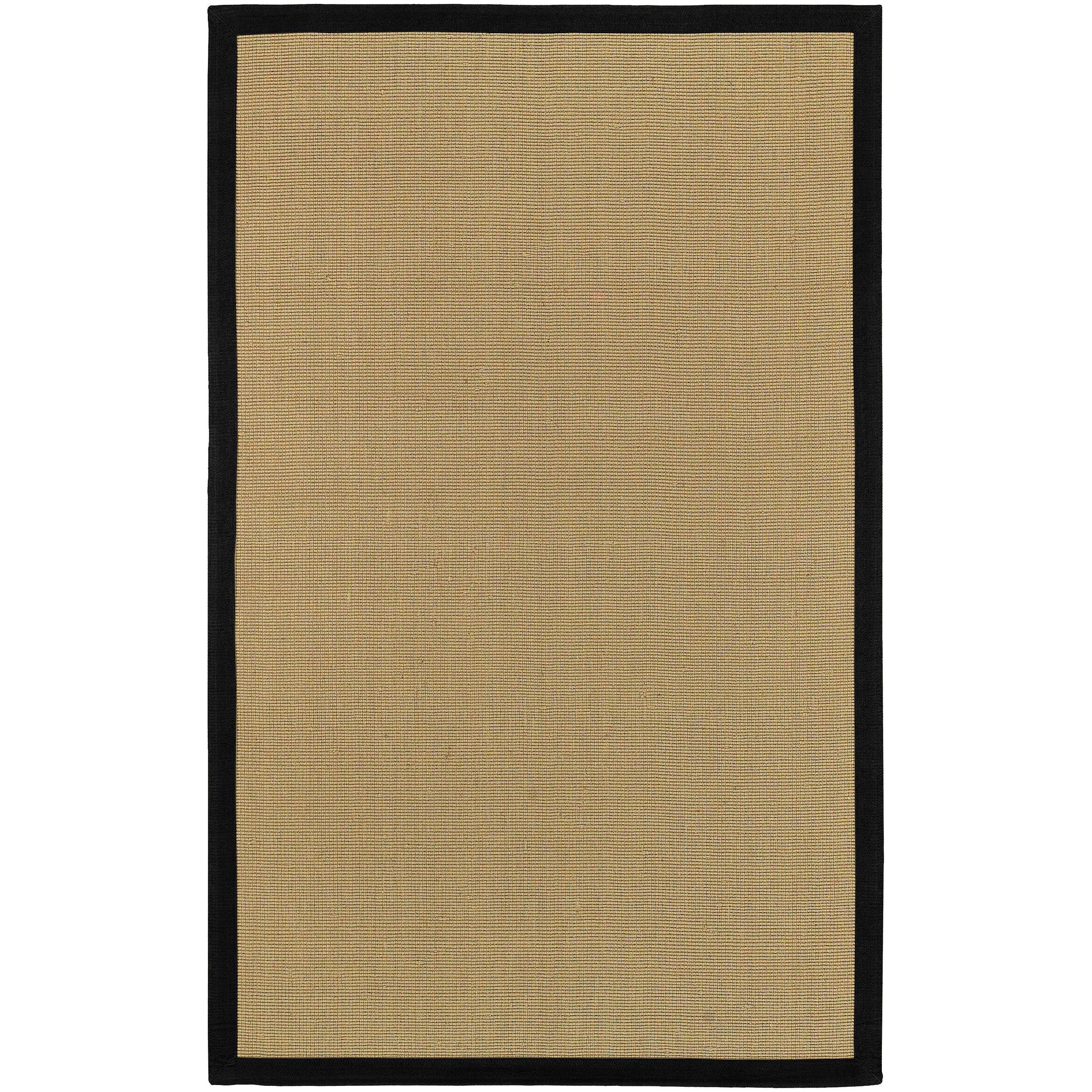 Woven Town Sisal and Black Cotton Border Rug (5' x 7'9)