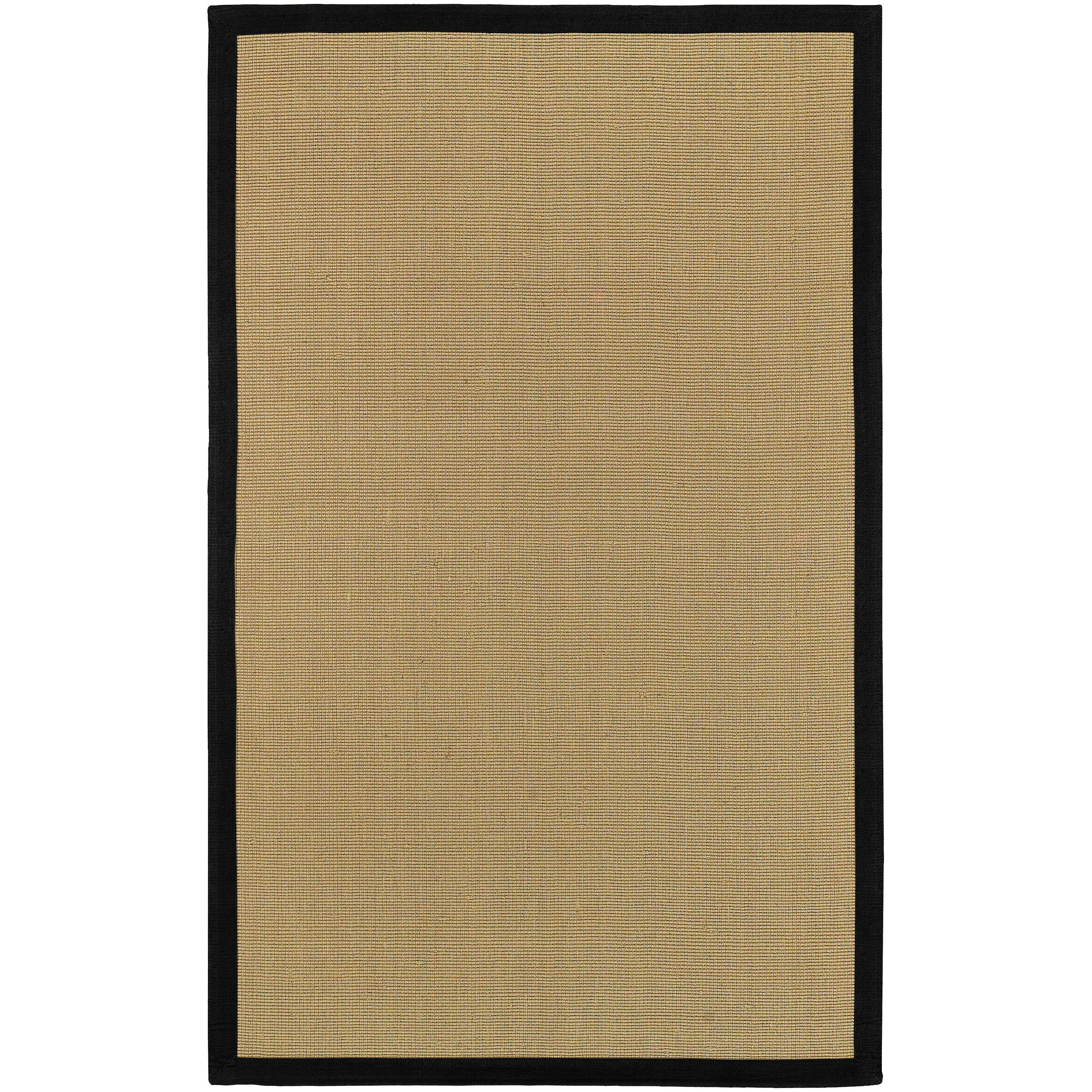 Woven Town Sisal and Black Cotton Border Rug (6' x 9')