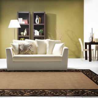 Meticulously Woven Garden View Tan/Brown Bordered Rug (5' x 7'6)