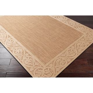 Meticulously Woven Garden View Beige\Tan Bordered Area Rug (5' x 7'6)