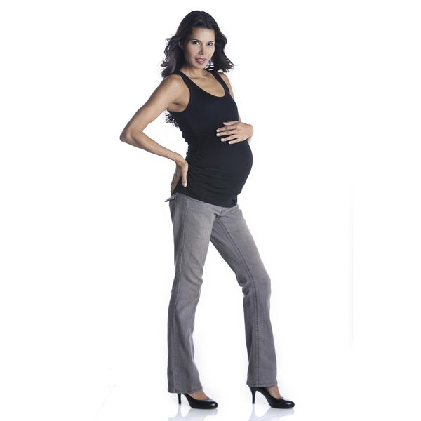 Lilac Clothing Women's Maternity Grey Stretch Denim Bootcut Jeans