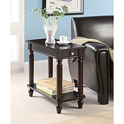 Cappuccino Wood Chair Side End Table with Drawer