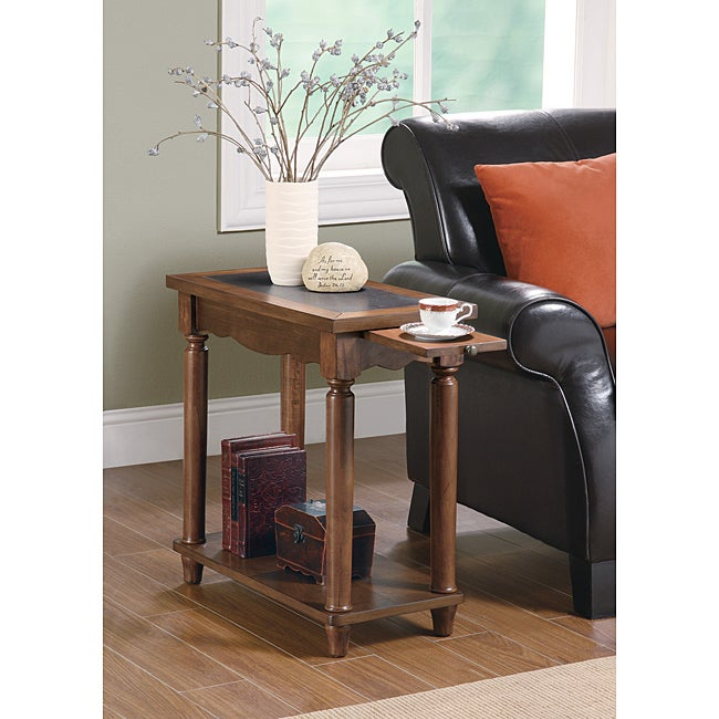 Brown Wood Chair Side End Table With Pull Out Tray