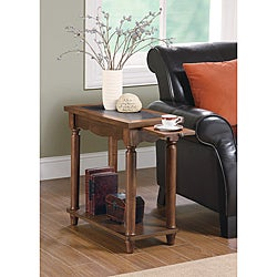 Brown Wood Chair Side End Table with Pull-Out Tray