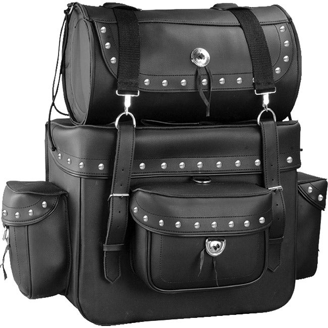 Raider Large Black Studded Motorcycle Touring Pack