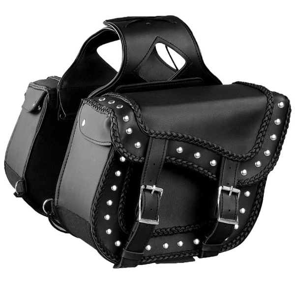 Raider Black Studded Motorcycle Saddle Bags