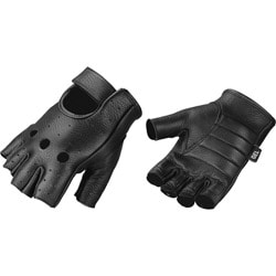 Raider Black Leather Fingerless Motorcycle Gloves