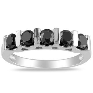 Miadora Sterling Silver 1ct TDW Black Round Diamond Ring