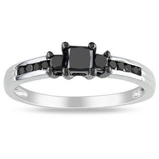 Miadora 10k White Gold 1/2ct TDW Black Diamond 3-stone Ring