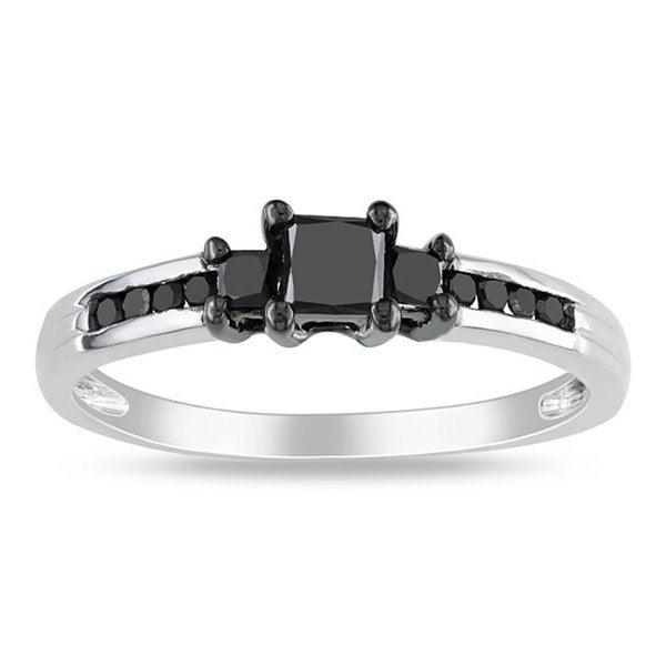 Miadora 10k White Gold 1/2ct TDW Black Diamond Princess Cut 3-stone Ring