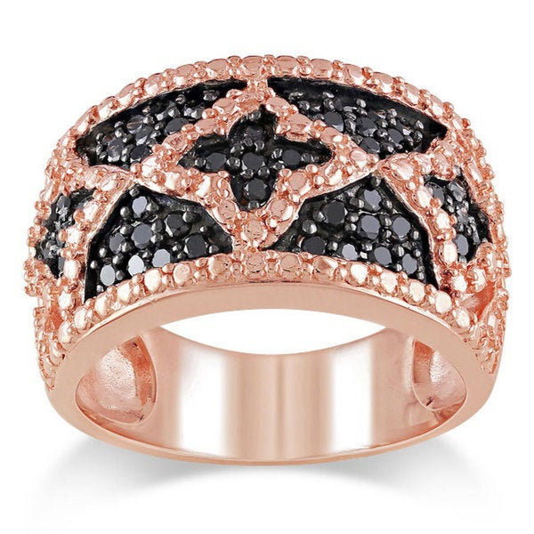 M by Miadora Pink-plated Silver 1/2ct TDW Black Diamond Ring