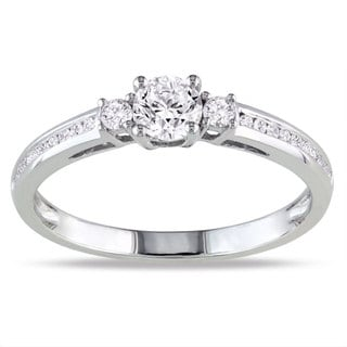 Miadora 10k White Gold 1/2ct TDW Diamond 3-stone Ring (G-H, I1-I2)