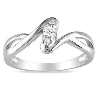 M by Miadora Sterling Silver 1/10ct TDW Diamond Twist Promise Ring (G-H, I2-I3) with Bonus Earrings