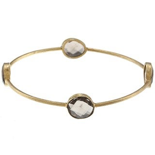 Miadora 22k Yellow Goldplated Silver Smokey Quartz 8-inch Bangle (16ct TGW)