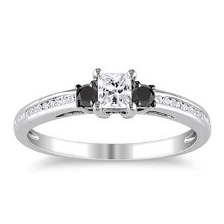 Miadora 10k White Gold 1/2ct TDW Black and White Princess-cut Diamond Ring (G-H, I1-I2)