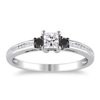 Miadora 10k White Gold 1/2ct TDW Black and White Princess-cut Diamond Ring (G-H, I1-I2)