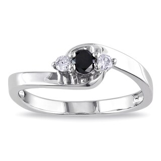M by Miadora Sterling Silver 1/4ct TDW Round-cut Black and White Diamond Ring with Bonus Earrings