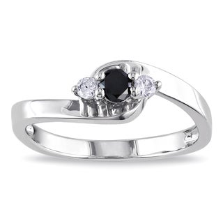 M by Miadora Sterling Silver 1/4ct TDW Round-cut Black and White Diamond Ring
