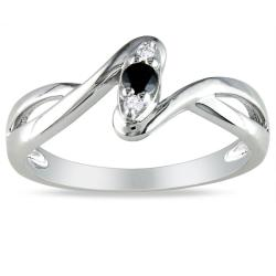 Miadora Sterling Silver 1/10ct TDW Black and White Diamond Ring (G-H, I2-I3)