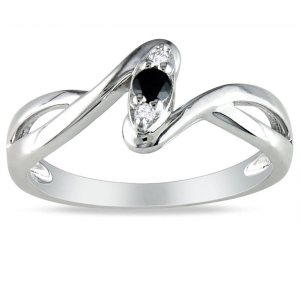 Haylee Jewels Sterling Silver 1/10ct TDW Black and White Diamond Promise Ring (G-H, I2-I3)