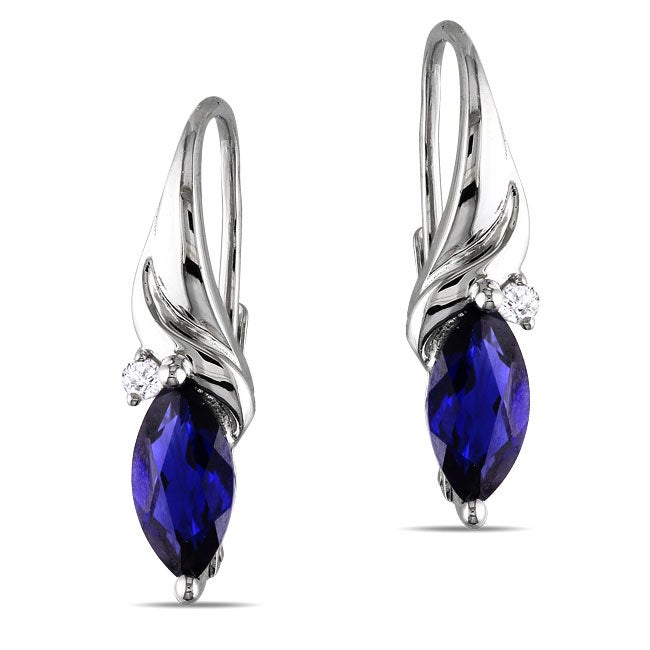 Miadora Sterling Silver Created Sapphire and Diamond Earrings (2 1/8ct TGW)
