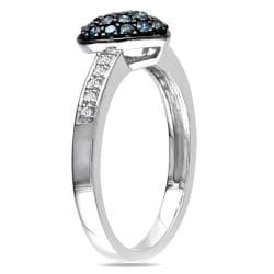 Miadora Silver 1/3ct TDW Blue and White Diamond Heart Ring (H-I, I3)
