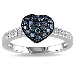 M by Miadora Silver 1/3ct TDW Blue and White Diamond Heart Ring (H-I, I3) with Bonus Earrings