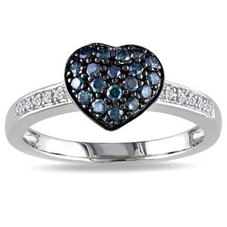 Haylee Jewels Silver 1/3ct TDW Blue and White Diamond Heart Ring (H-I, I3)