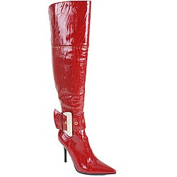 Beston Italina Women's Faux Leather Red Over-the-Knee Boots