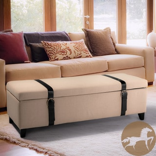 Christopher Knight Home Ivory Fabric Storage Ottoman with Straps