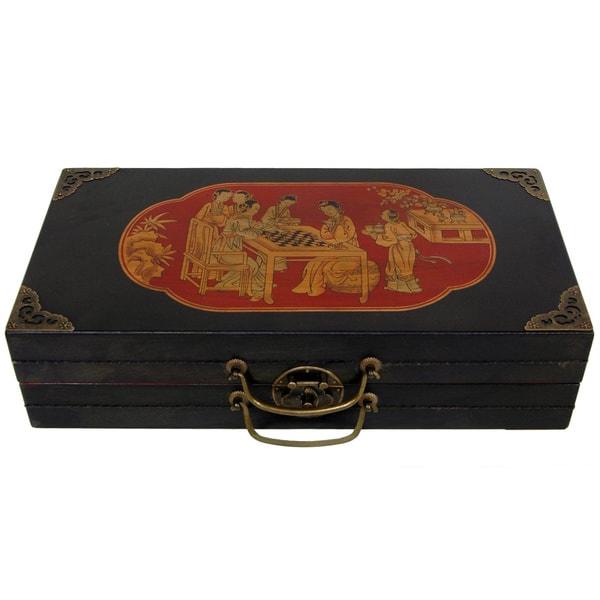 Wood Black Lacquer Chess Set Box (China)