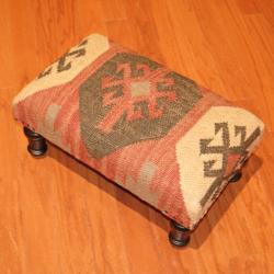 Handmade Kilim Rectangular Footstool (India)