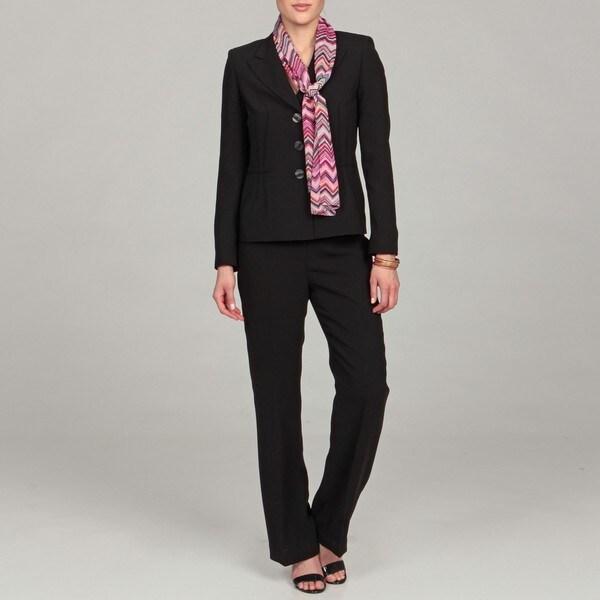Evan Picone Women's Black Three-button Pant Suit