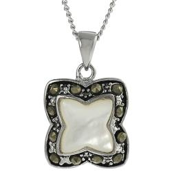 Tressa Silvertone Cubic Zirconia, Marcasite and Mother of Pearl Necklace