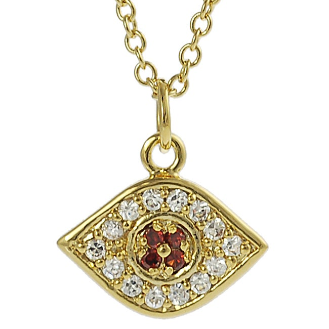Tressa Goldtone White and Red Cubic Zirconia Evil Eye Necklace