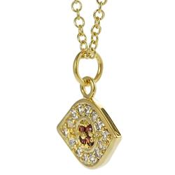 Journee Goldtone White and Red Cubic Zirconia Evil Eye Necklace