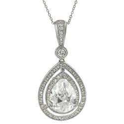 Tressa Silvertone Pave-set Teardrop-shaped Cubic Zirconia Necklace
