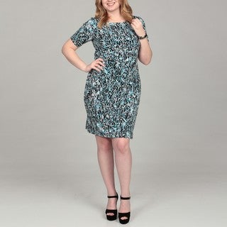 Connected Apparel Women's Plus Size Aqua Printed Side-drape Dress