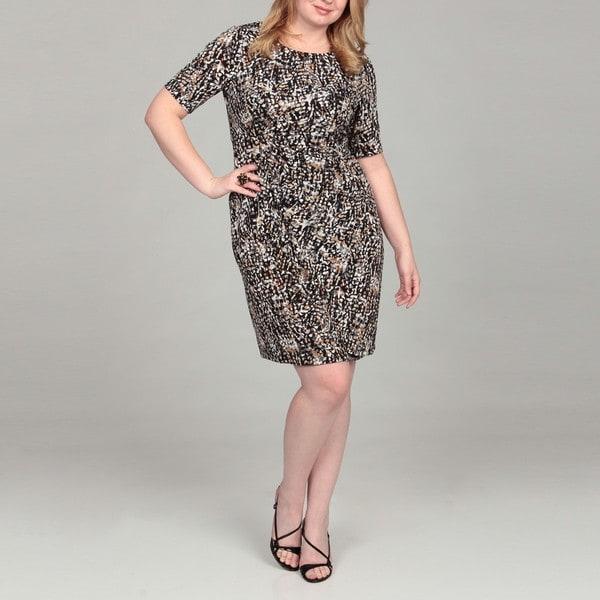 Connected Apparel Women's Plus Size Side-drape Dress