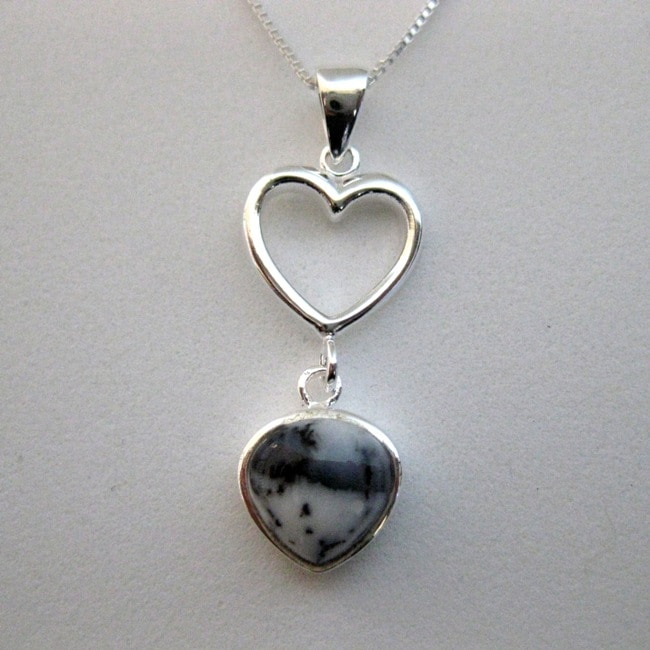 Sterling Silver Pear-cut Dendrite Heart Necklace (Thailand)