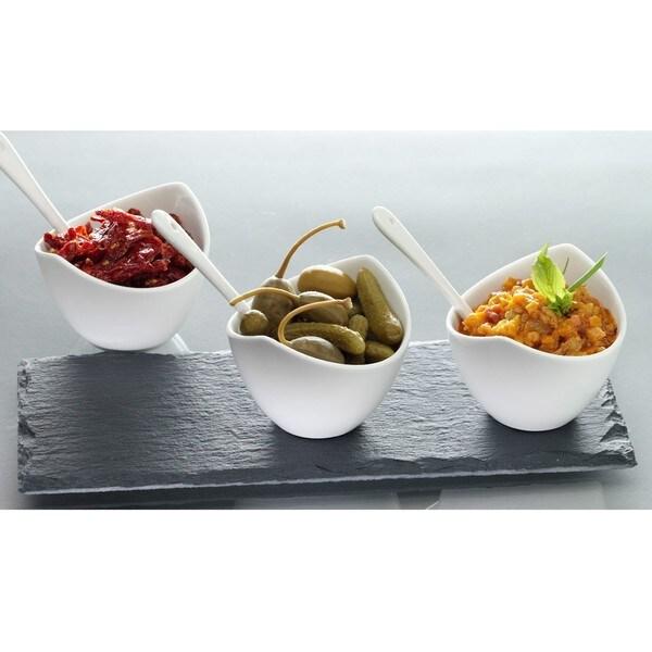 Luigi Bormioli Slate and Porcelain 7-piece Condiment Set